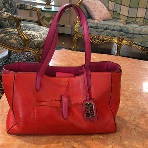 """Handbags - RALPH LAUREN RED & PINK HANDBAG 14""""x9"""""""